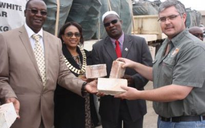 Namib Clay donate bricks for fire victims